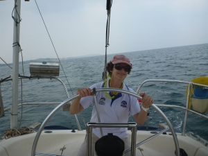 Katy at the helm