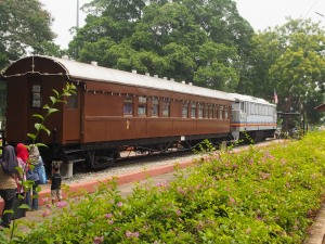 Train carriage in the town centre