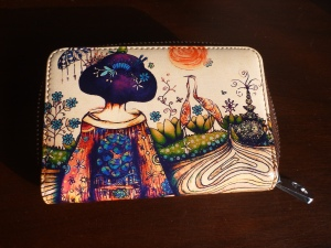 Painted leather card holder with Japanese lady