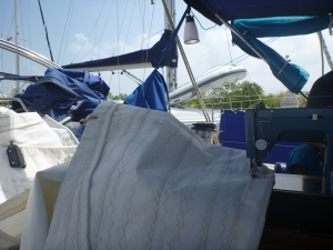 Fitting the mainsail into the cockpit