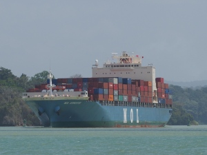 Container ship in the canal heading to Atlantic