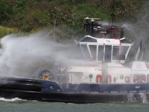 Tugboat fire practice