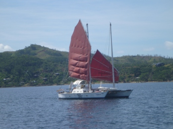 Interesting Wharram we met on the way into Savusavu