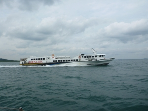 Just one of a number of different fast ferries that zipped past