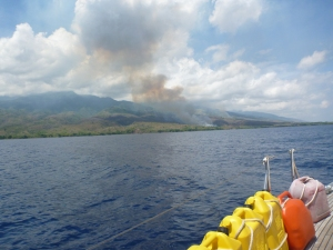 Soon after dawn the locals set these fires on the slopes of Tambora