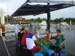 BBQ Christmas lunch on the pontoon